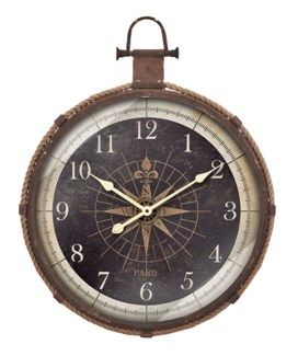 Roped Compass Clock, 21x13.5x21 Inches