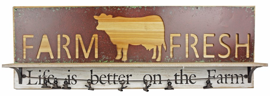 Farm Fresh Cow Hanger, 15.8x1x23.8