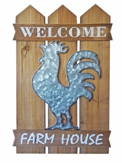 Welcome Rooster Wall Decor, 15.7x1x23.6