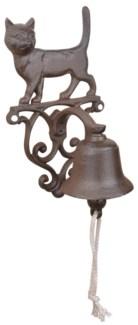 Doorbell cat. Cast iron, cotton cord. 14,3x13,2x24,2cm. oq/8,mc/8 Pg.43