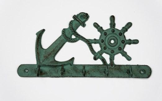 Nautical Hook Rack, Rustic Green 9.3x1.4x4.5 inches