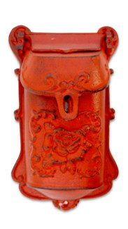 Nazlie Mailbox Red Cast Iron 6.8x2.8x11.4inch.