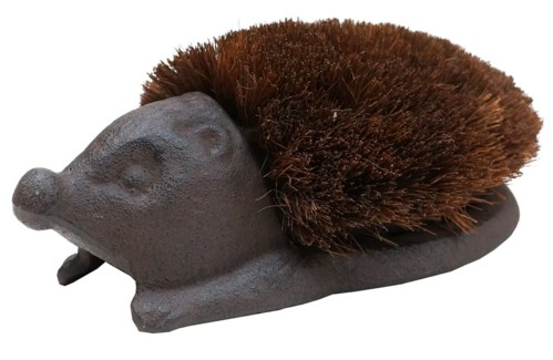 Hedgehog Cast Iron Boot Brush, Brown 10.6x6.5x3.7inch
