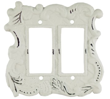 Double Flip Switch Cover, Antique White 5.7x5.4x0 inches