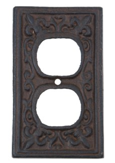 Kel Cast Iron Outlet Cover, Double, Brown 2.8x4.8inch