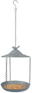 Grey Metal bird feeder hanging -  (8.9x8.9x11.8 inches)