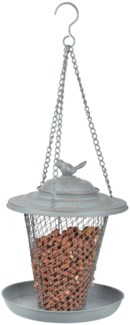 Grey Metal peanut feeder -  (8.9x8.9x10.6 inches)