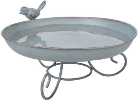 Grey Metal bird bath standing - (8.5x8.5x4.6 inches)