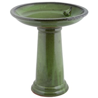 Birdbath on foot ceramic green, Ceramics - 16.54x16.54x47