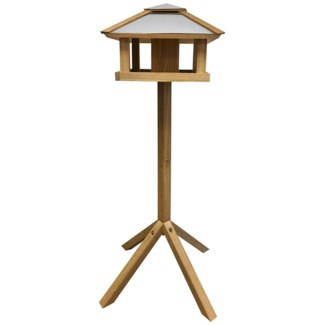 Bird table oak square with silo -  22.44x22.44x115
