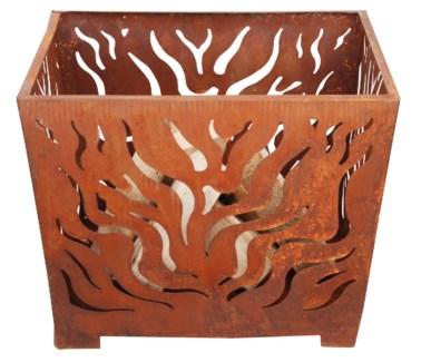 Fire basket square rust M. Metal. 59,5x59,5x45,0cm. oq/3,mc/3 Pg.23