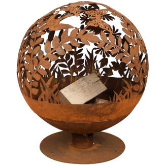 Fire ball laser cut flowers rust - 23x22.75x26.25 inches