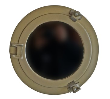 Porthole Mirror,11in, Antique Brass