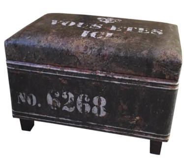 Black rectangular industrial stool with storage faux leather   24x15.75x17.25inch
