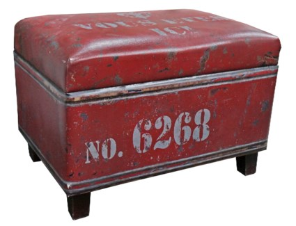 Red rectangular industrial stool with storage faux leather   24x15.75x17.25inch.