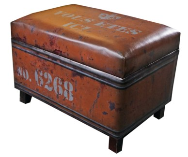 Orange Rectangular Industrial Stool with storage. Faux  leather. 24x15.75x17.25inch