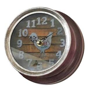Hen Clock Metal, Red