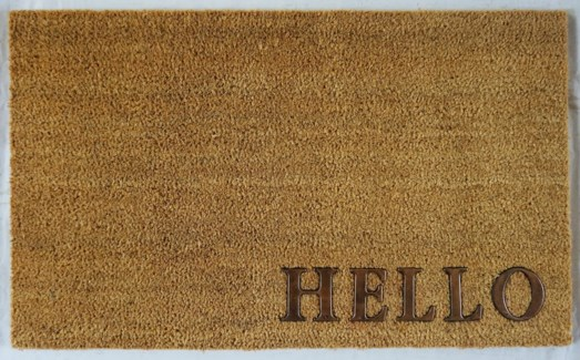 HELLO Mat, Natural, 17.7x29.5 inches, 1.5 cm thick, Rubber Flocked Copper Finish