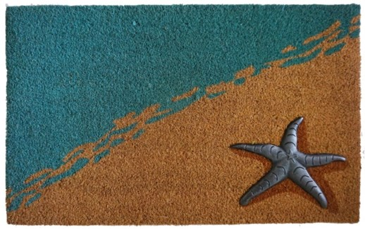Seaside Mat, Blue/Nat, 17.7x29.5 inches, 1.5 cm thick, Rubber Flocked Silver Finish