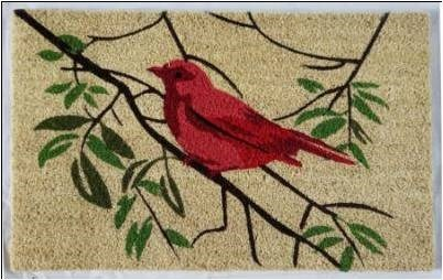 Red Bird Mat, 1.5x2.5 ft, 17.7x 29.5x 1 inches, 100% Coir, no backing