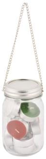 Jar hanger with tealights. Glass, tin, metal, wax. 8,0x8,0x13,3cm. oq/12,mc/36 Pg.79