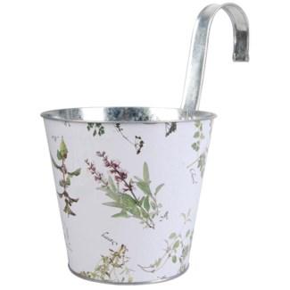 Herb print flower pot with hook. Zinc. 25,0x16,5x25,5cm. oq/12,mc/12 Pg.134