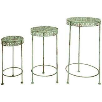IH Plant tables set of 3. Metal. 19,8x19,8x49,2/25,1x25,1x59,5/30,2x30,2x69,5cm. oq/2,mc/2 Pg.107