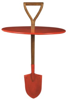 Spade table red. Iron, chinese Mahogany wood. 59,0x59,0x95,0cm. oq/1,mc/1