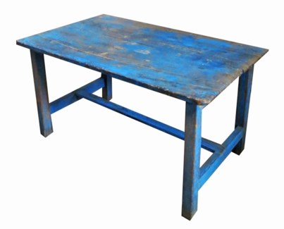 Vintage Wooden Table, Dist.Blue - 37.8x23.23x20.08 inches