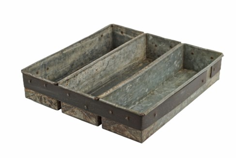 Vintage Iron Triple Tray - 11.81x11.81x2.36 inches