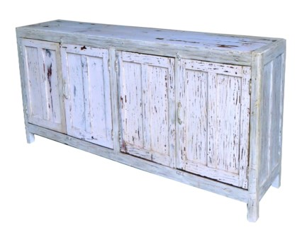 Sideboard Cabinet Full Doors, L, White - 72x16x35 in