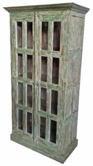 Vintage Reproduction Tall Cabinet, Green  37x18x72 inches