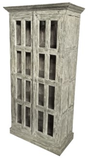 Vintage Reproduction Tall Cabinet, Cream 37x18x72 inches