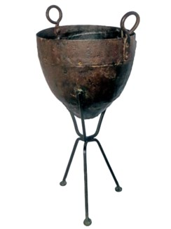Vintage Iron Standing Pot, 6.3x6.3x21 Inches