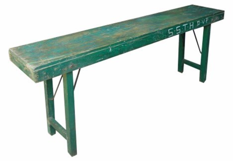 Vintage Slim Folding Table, Dark Green,  69X15X30 Inches