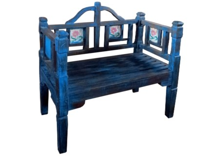 Vintage Wood Bench, Blue, 43x23x39 Inches