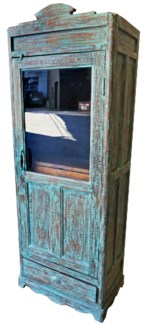 RM-33707 Vintage Almirah Glass Cabinet BL&GRY 26x15.5x71.7 Inches