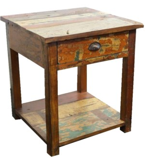 Recylced Wood Lamp Table With One Drawer, 24x24x26 inch. *last chance*