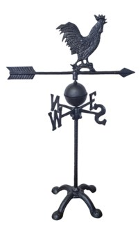Weather Vane-Rooster, Black, 17x11x28.25 inches
