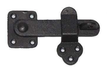 Door Latch-Simple, Cast Iron, Ant. Blk, 5x3.25x0.75 inches