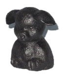 Sitting Pig, Cast Iron, Ant. Blk, 2x1.5x2 inches