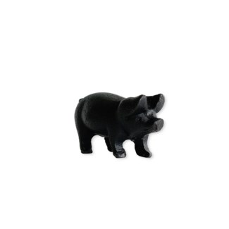Small perky pig, antique black finish, 3.5x1.6x1.9 inches