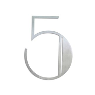 Stainless Steel 6   ArtDeco Number-5 Satin Finish, 2.0 mm thick, anchor mounted