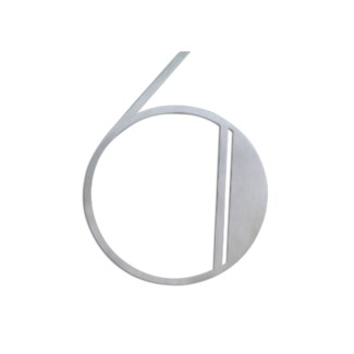 Stainless Steel 6   ArtDeco Number-6 Satin Finish, 2.0 mm thick, anchor mounted