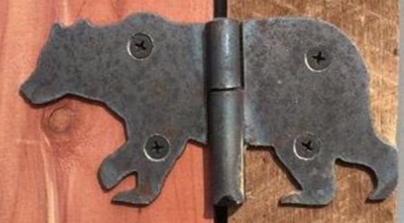 Bear Hinge, oil rubbed metal finish, 4.5 x 3 inch