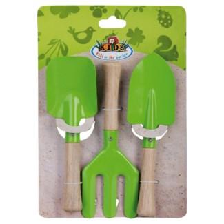 Children garden tools set/3 green. Metal, wood. 19,6x3,7x28,0cm. oq/12,mc/48 Pg.100