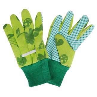 Children gloves green. Cotton, polyester, viscose, PVC. 11,0x0,9x19,7cm. oq/12,mc/240 Pg.100