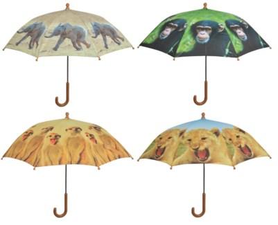 Children umbrella out of Africa ass. Polyester, metal, PP. 71,0x71,0x58,0cm. oq/12,mc/60 Pg.99