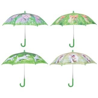Umbrella puppies and kittens ass. Polyester, metal, PP. 71,0x71,0x58,0cm. oq/12,mc/60 Pg.98