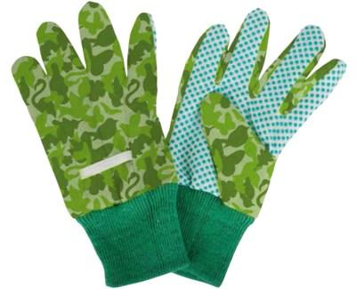 Children gloves camouflage print. Cotton, polyester, viscose, PVC. 10,5x1,0x19,0cm. oq/12,mc/24